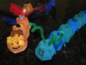 Part two requires whatever you can find in the craft box to have some decorating fun. Feathers, pipe cleaners, pom-poms etc. Here we have a butterfly and a caterpillar