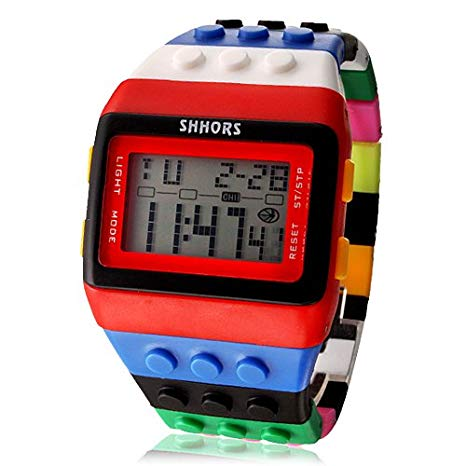 Unisex Rainbow Block Brick Style Digital Wrist Watch