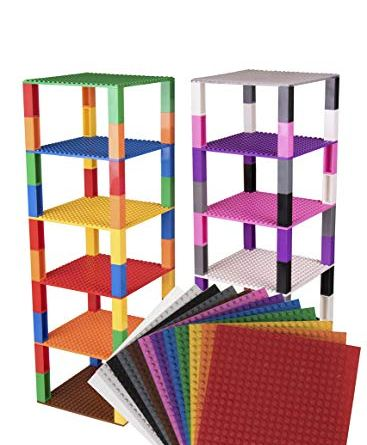 """Premium Rainbow Stackable Base Plates - 12 Pack 6"""" x 6"""" Baseplate Bundle with 80 Rainbow New and Improved 2 X 2 Stackers - Compatible with All Major Brands - Tower Construction"""