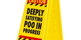 """Satisfying Poo Warning Sign, Plastic, Yellow"