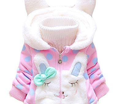 Baby Girls Coat Winter Warm Hooded Fleece Jacket Rabbit Ears Toddler Clothes