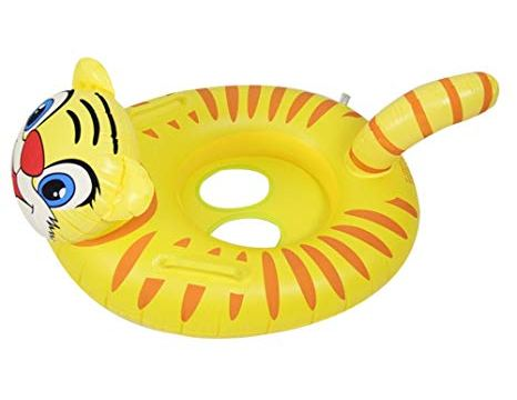 Children Swim Seat Swimming Ring Cartoon Inflatable Floating Ring Swim Circle Skin Care PVC for Toddler Swim Trainer Seat With 6-18 Month (Yellow Tiger)