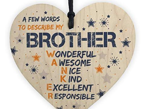 Funny Rude BROTHER Gift Wooden Hanging Heart Plaque Novelty Birthday Gift From Sister