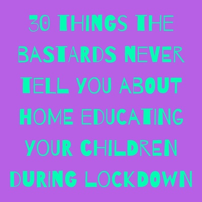 30 THINGS THE BASTARDS NEVER TELL YOU ABOUT HOME EDUCATING YOUR CHILDREN DURING LOCKDOWN