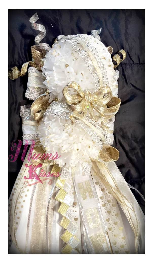 Double Homecoming Mum - White and gold
