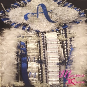 Blue white mega homecoming mum