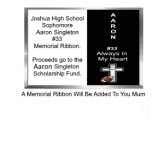 Aaron Singleton Memorial Ribbon for Homecoming Mums