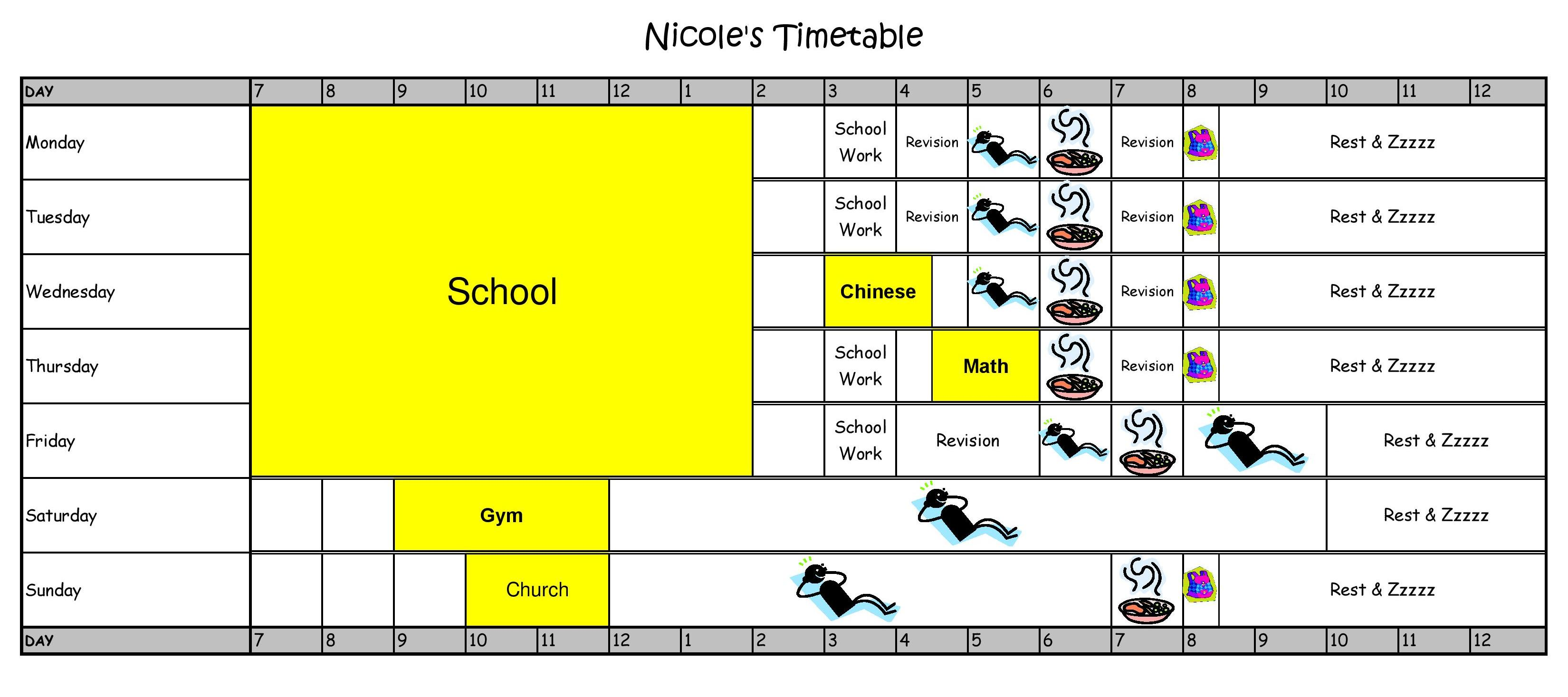 Primary School Kids Schedules