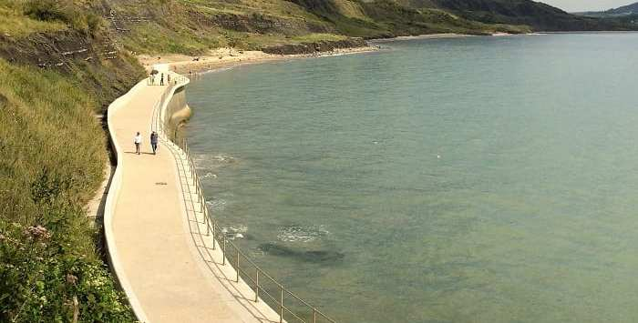 Lyme Regis coastline in Devon