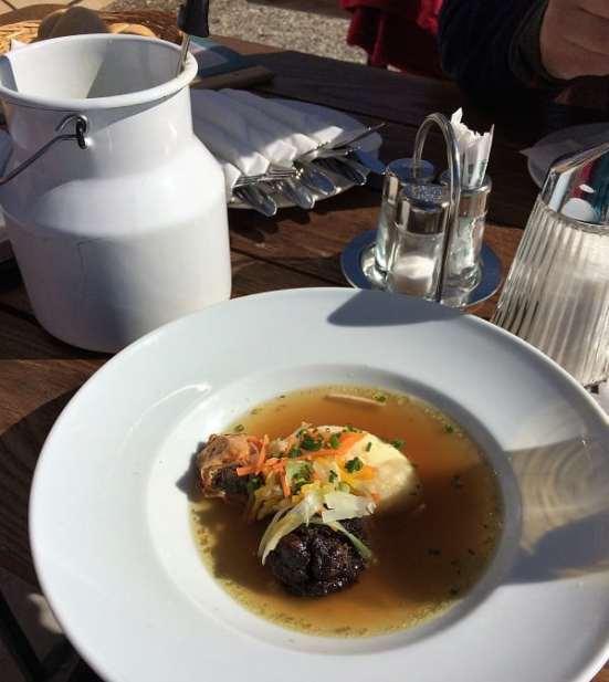 Clear beef soup with semolina dumplings