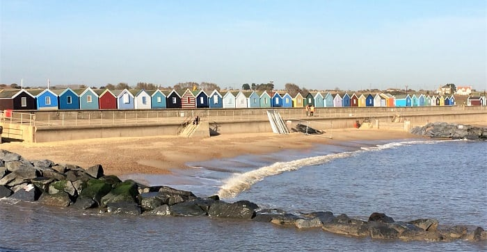 Southwold beach huts in winter