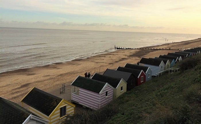 Southwold beach huts at sunset