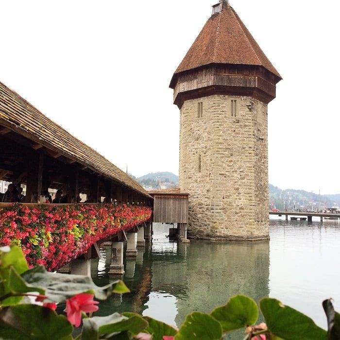 Chapel bridge, Lucerne, Switzerland, with flowers