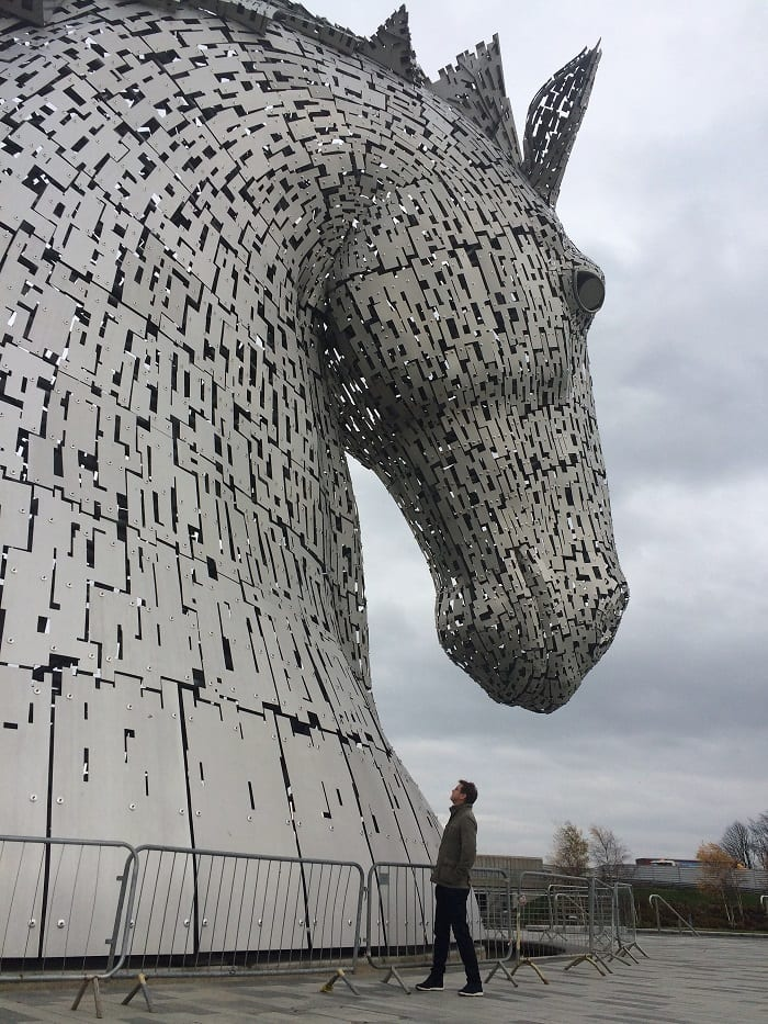 Standing close to Duke, The Kelpies