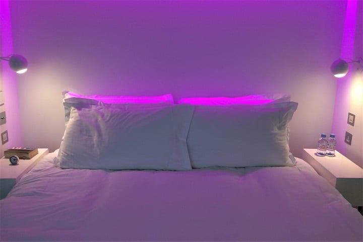 St martins Lane hotel deluxe room lighting pink