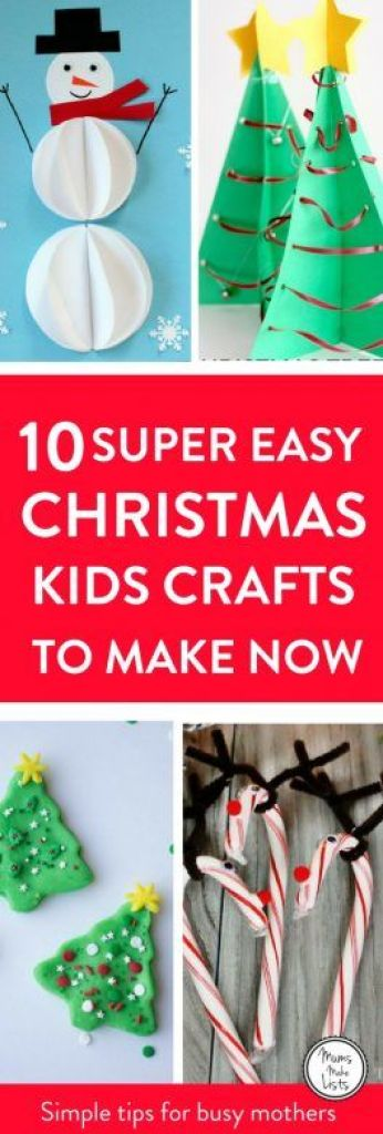 Christmas crafts for kids to make! Here are ten super easy Christmas crafts for kids to make on their own - or with minimal help. We have got paper based crafts, Christmas card and decoration ideas. There is also a lovely lolly stick idea and one using pipe cleaners. My favourites involve scented salt dough and play dough. Take a peak and see what you can get your kids making this Christmas time - the beauty of these easy crafts is that busy mums can set their kids up and then get on with Christmas preparations in peace! #ChristmasCraftsForKids