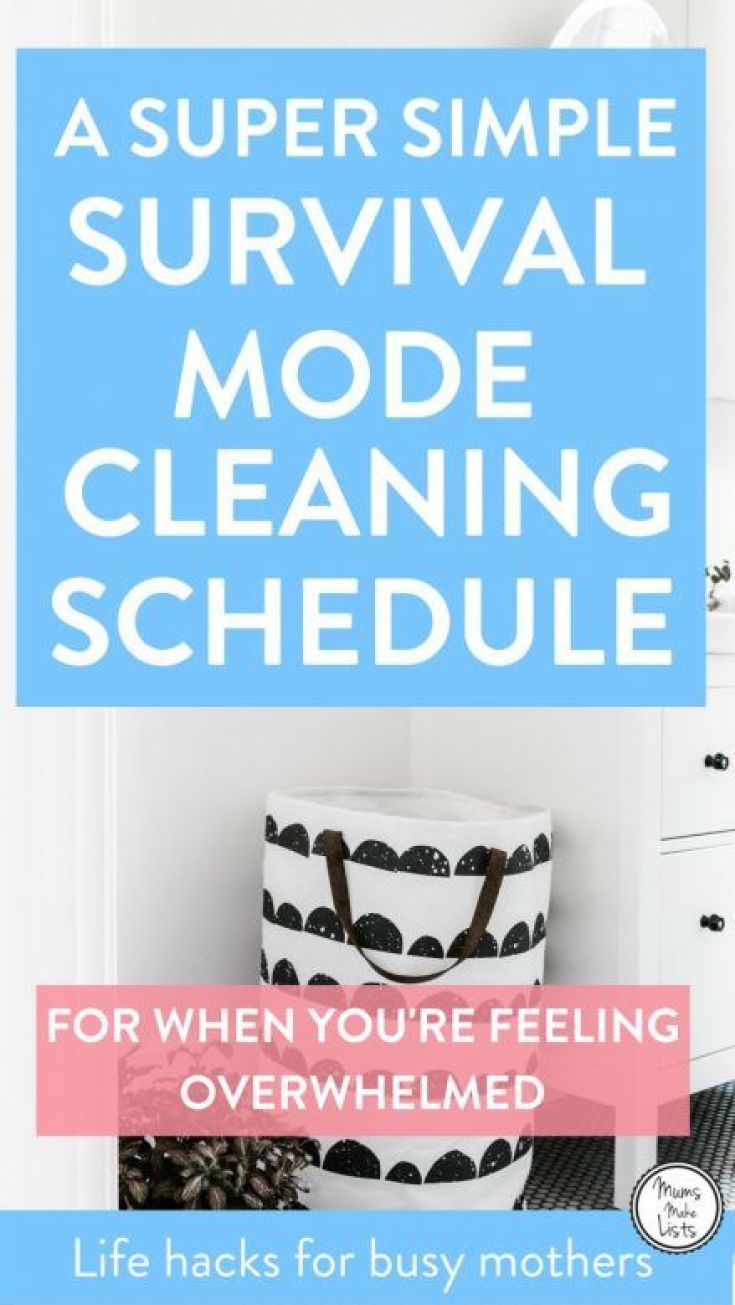 Use our simple survival cleaning schedule - created with busy mothers - both working mums and SAHMs in mind - when you need a cleaning checklist that will get you through times of overwhelm #Cleaning #CleaningTips #CleaningHacks #CleaningRoutines #cleaningschedule