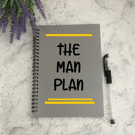 Etsy gifts for him Man Plan notebook #Etsy #EtsyFinds #Christmas #ChristmasGift #GiftsForHim