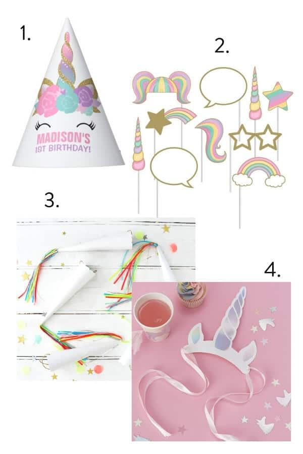 unicorn party hat, unicorn party cone to wear on head, unicorn photo booth kit, unicorn tiara