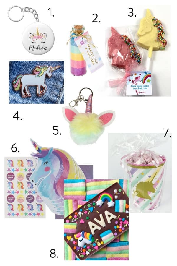 Unicorn party favours, unicorn party theme, ideas for unicorn themed kids party