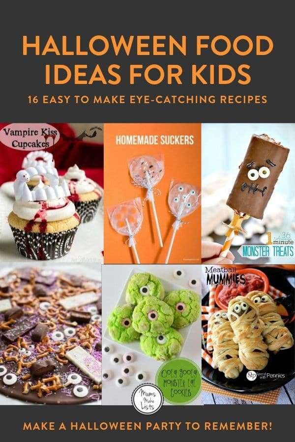 Halloween kids party food, party food ideas for kids Halloween parties, easy Halloween party food