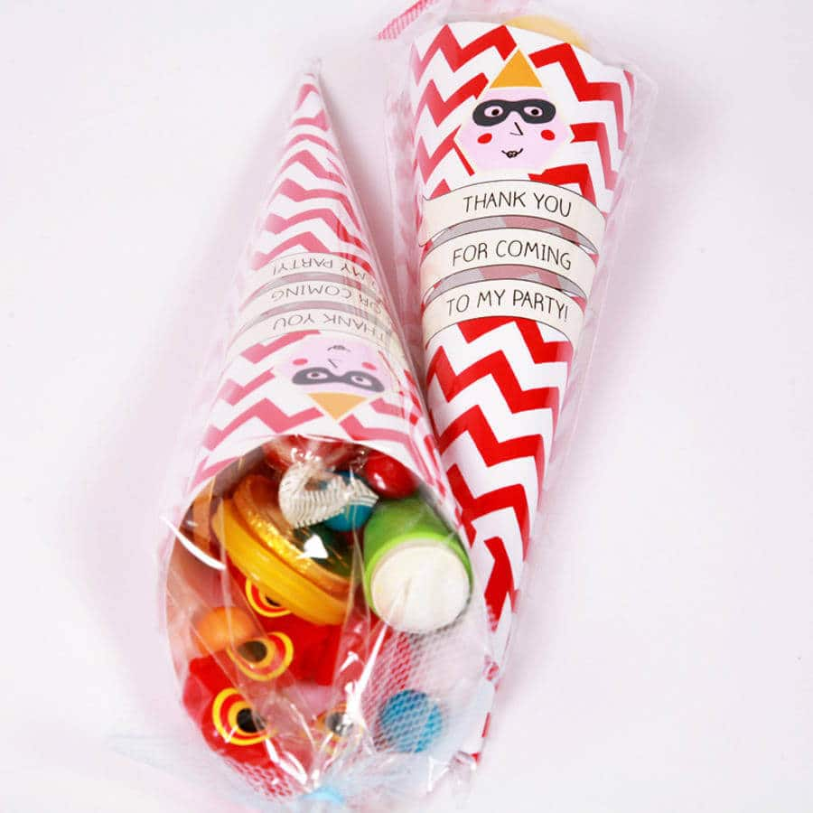 Kids' party favors, kids' party favours, kids's party cones, ready-filled kids's thank you cones, pre-filled party bag ideas