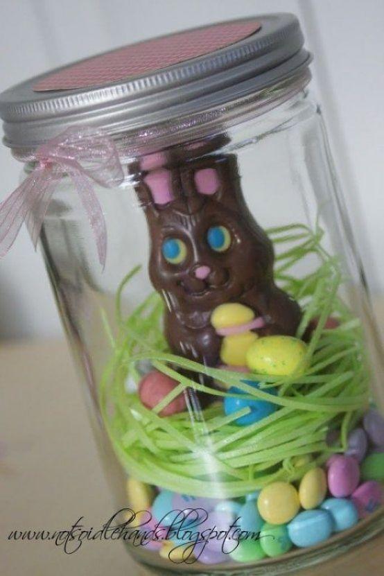 Chocolate Easter Bunny Nest in Mason Jar Easter Gift Idea