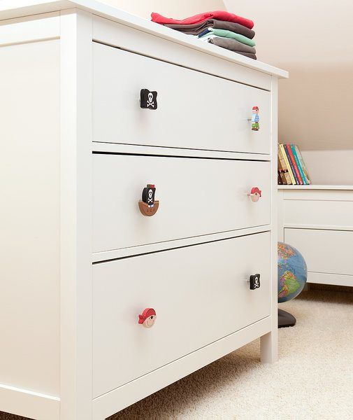 Budget kids room idea. IKEA hacks. IKEA chest of drawers with Pirate drawer knobs