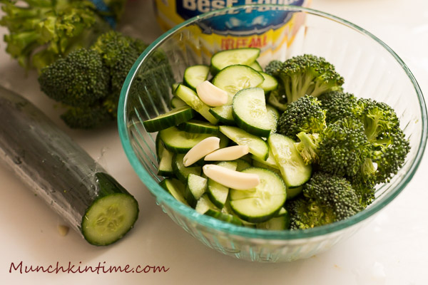 Brocolli cucumber salad