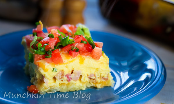 Must Try Hashbrown Ham and Cheese Breakfast Casserole by  Munchkintime-- - www.munchkintime.com #