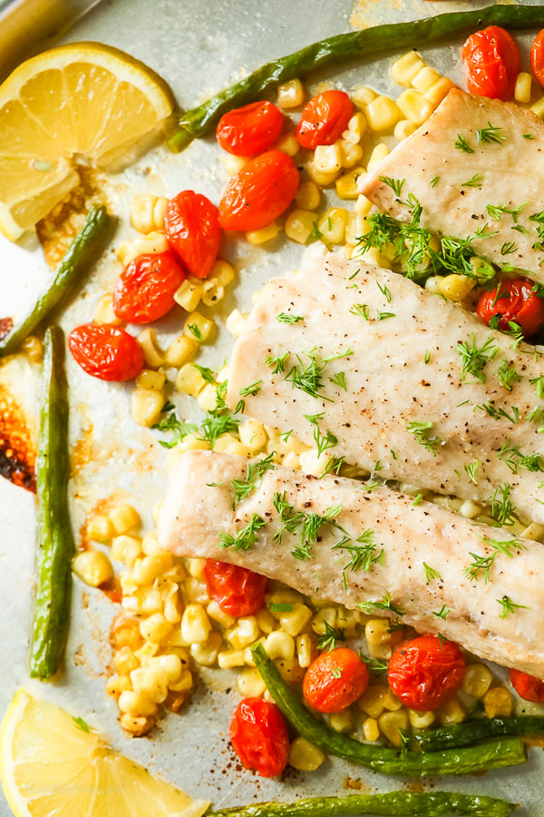 Roasted Mahi Mahi Recipe with Corn Beans Cherry Tomatoes Recipe -- www.munchkintime.com #mahimahirecipe