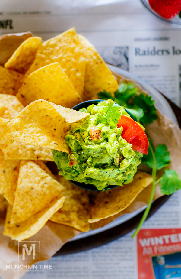 Guacamole Recipe Simple tailgate party food! Made of ripe avocados, jalapeno, tomatoes on the wine, onion, freshly squeezed lime juice and lots of cilantro. Game on baby!