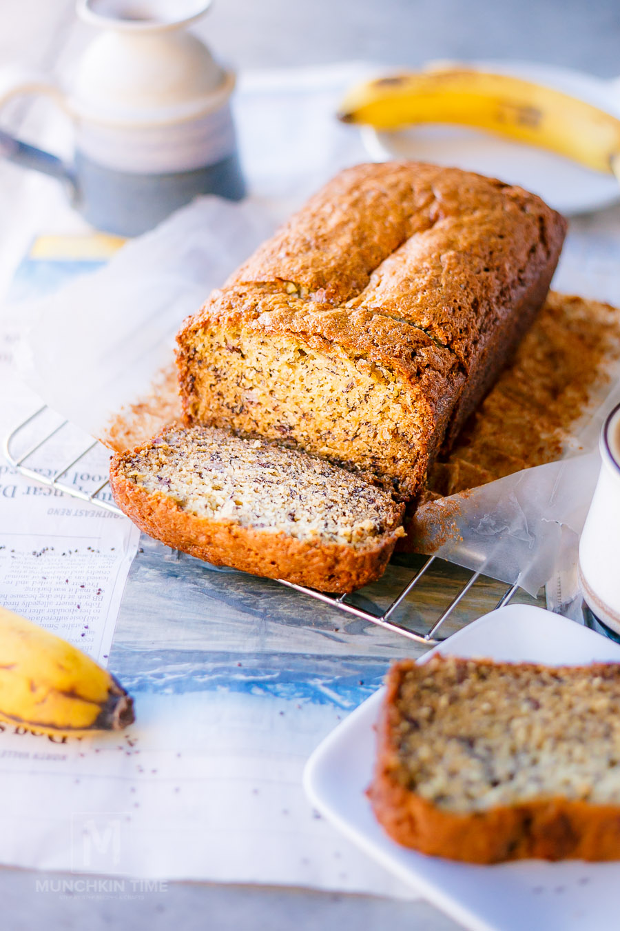 Delicious Chia Seed Banana Bread Recipe - moist and loaded with delicious sweet flavor of mashed bananas and chia seeds. Recipe by MunchkinTime.com