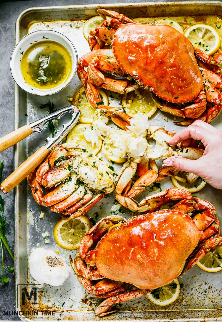 The Best Oven-Roasted Dungeness Crab Recipe: Dungenuss Crab oven roast in garlic butter sauce until perfection.