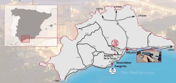 Localizaciones del Mundial Open 2015 en Málaga