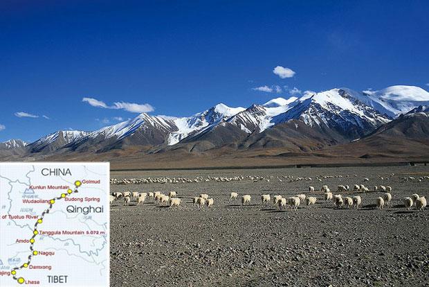paisaje del tren de golmud a lhasa