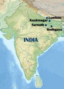 Mapa-de-los-4-lugares-sagrados-del-budismo-en-India-y-Nepal