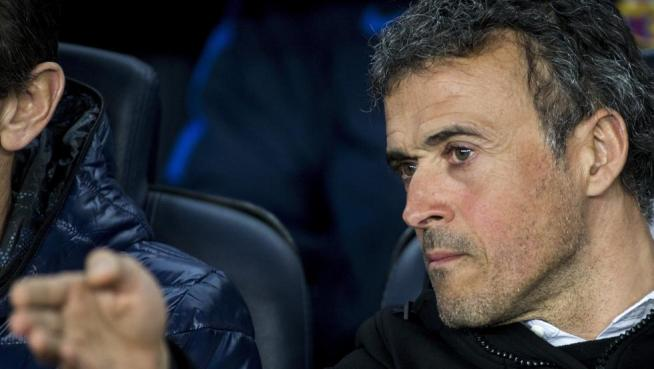 Luis Enrique, durante el Barça-Sporting
