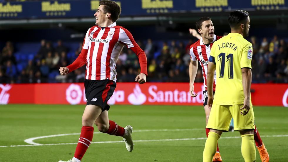 Córdoba celebra el gol con el que el Athletic inauguraba el marcador en Villarreal