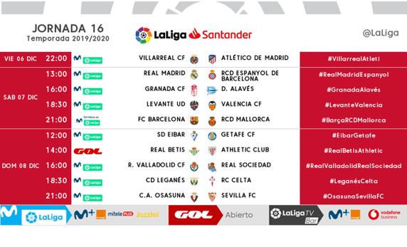 Horarios de la jornada 16 de la Liga Santander