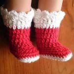 DIY botas navideñas a crochet para muñeca Nancy
