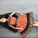Vestido crochet para muñeca