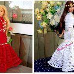 Vestido de noche o de novia tejido a crochet