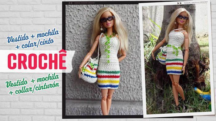 Vestido y complementos para Barbie a crochet