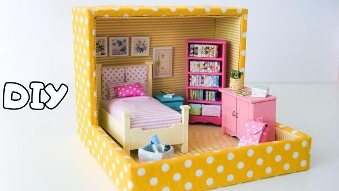 Dormitorio cartón para muñecas