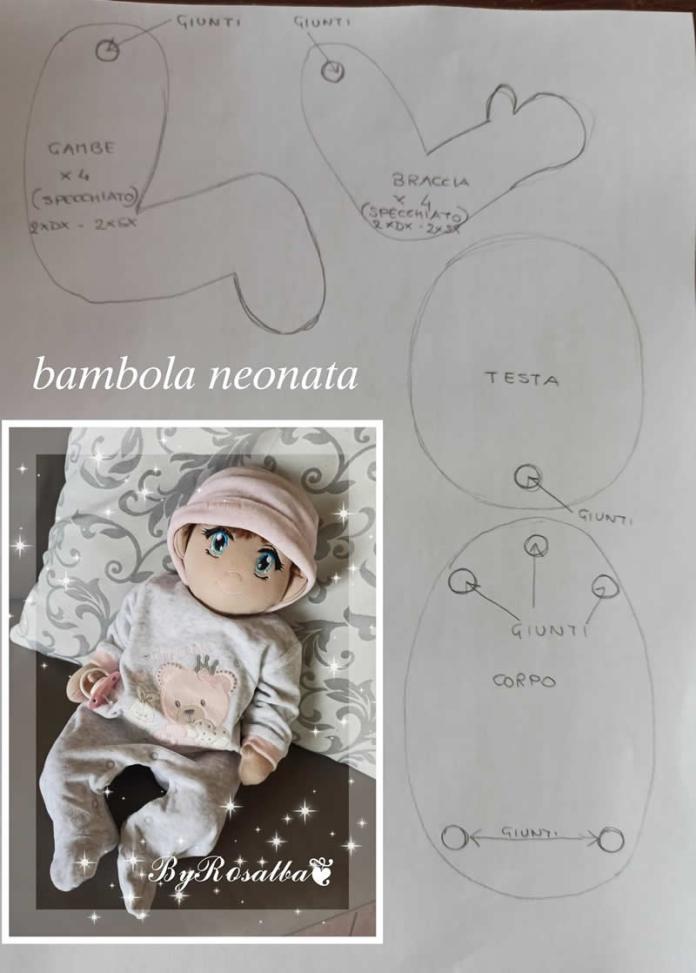 Muñeco de tela Bebé con patrón