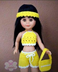 DIY Top y pantalón corto a crochet para muñeca