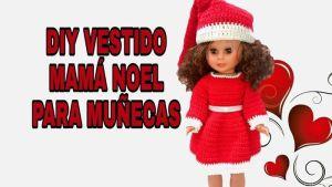 Vestido Mamá Noel tejido a crochet para muñecas