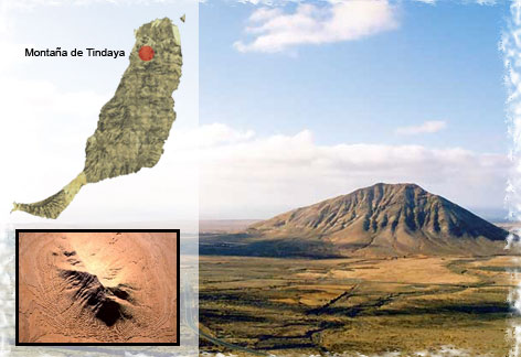 Localización de Tindaya en un mapa de Fuerteventura, con vistas de la montaña
