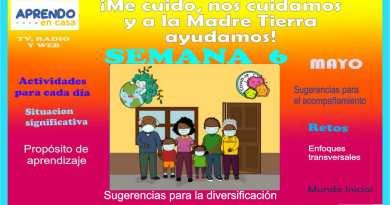 EXPERIENCIA DE APRENDIZAJE: ¡ME CUIDO, NOS CUIDAMOS Y A LA MADRE TIERRA AYUDAMOS!